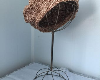 Tweed Brown and Beige Reproduction 1940s Tam, Beret, Hat, Cotton