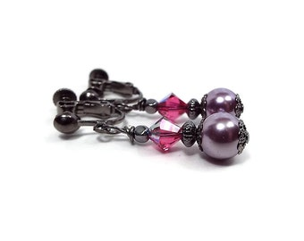 Pink and Purple Faux Pearl Crystal Clip on Earrings Gunmetal Plated Screw Back Goth Jewelry Vintage Style Drop