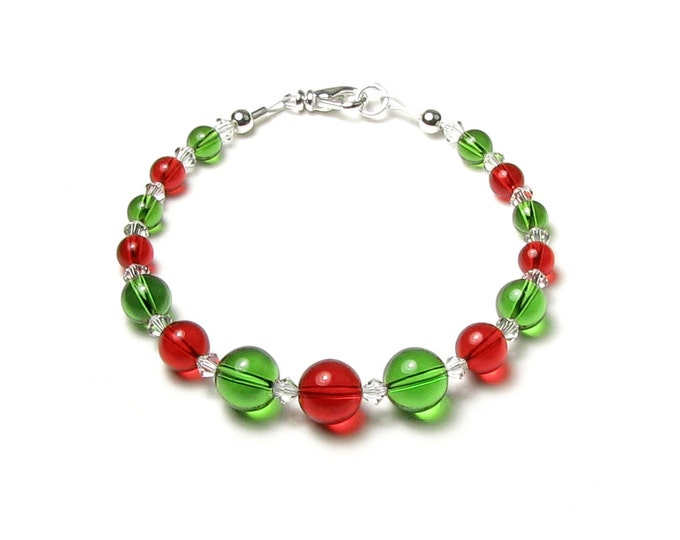 Red Green Clear Swarovski Crystal Round Globe Orb Bead Silver Christmas Bracelet Holiday Jewelry For Women Includes Gift Box With Card & Bow