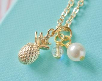 Gold Pineapple Necklace, Pineapple Necklace, Gold Pineapple, Pineapple Charm, Tropiocal Jewellery, Tropical Necklace, Pineapple Gift