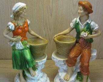 Figurine Statues Universal Statuary Boy & Girl Wine Harvest Wine Server 1975