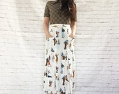 Vintage 80s Does 20s Novelty Print Midi Skirt S Flappers & Dappers Golf Tennis High Waist White Pockets