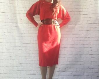 Vintage 80s Red Angora Sweater Midi Dress Batwing Slouchy Oversized Shift