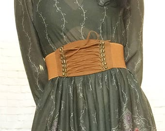 Vintage 90s Lace-Up Corset Wide Brown Belt Steampunk Pirate Stretch Elastic Peasant Velvet XS S M