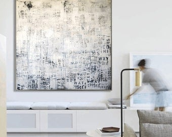 """creme, grey graphit 48"""" painting abstract painting large painting jolina anthony"""