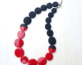red black necklace lampwork glass beaded necklace red beaded necklace black necklace