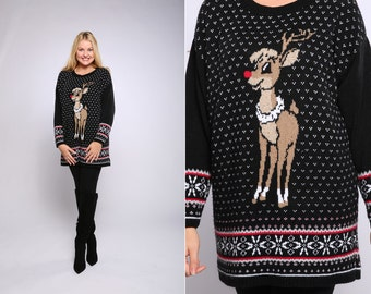 Epic Vintage Ugly Christmas Sweater Dress Rudolph Reindeer Large XL Plus Size Soft Leggings Outfit Boots Black Ugly Xmas Shirt Holiday 16X