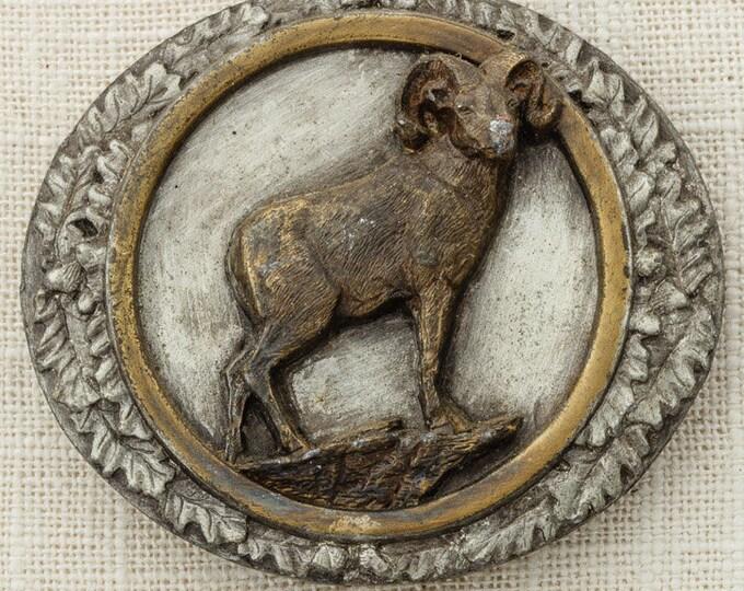 Big Horn Sheep Belt Buckle Brass Ram Mountains Bergamot Brass Works 1985 Made In USA Vintage Belt Buckle 16B