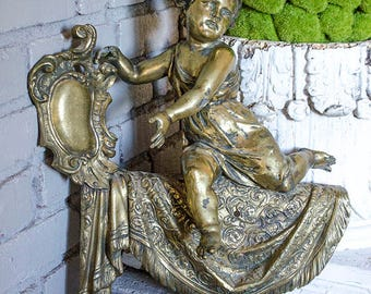 Antique Salvaged Cherub, Brass, Heavy, Large