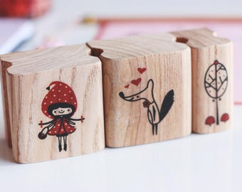 Le Loup Aime Chaperon Set Stamp, Rubber Stamp, Stamp for Crafting, Scrapbook Stamp, Illustrated Stamp, children stamp, polymer, kawaii stamp