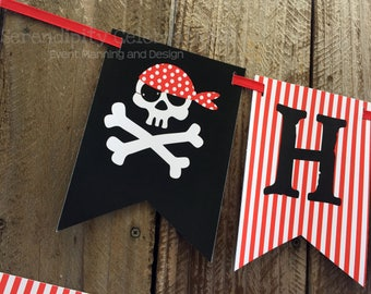 Pirate Birthday Banner -Personalized Happy Birthday Banner -Pirate Skull Birthday -Skulls Party Banner -Pirate Photo Prop -Flag Banner