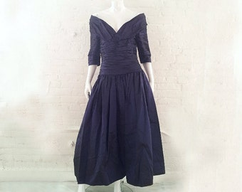 Blue Prom Dress 80s Vintage Vivian Dessy Diamond Ball Gown Purple Taffeta Portrait Collar Full Skirt Fit and Flare Off Shoulder Formal Gown