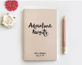 BLACK FRIDAY SALE Adventure Awaits Personalized Notebook & Pencil, Wedding Gift for Couple - Engagement Anniversary Gift, Personalized Trave