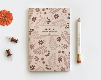 Fall Leaves Personalized Gratitude Journal & Pencil Set - Illustrated Autumn Brown Floral Recycled Notebook, 3 Sizes Blank Lined or Dot Grid