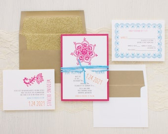 "Modern Indian Wedding Invitations, Gold Glitter Envelope Liner, Modern Fonts, Gold, Hot Pink, White, Aqua - ""Henna Love Gold"" Sample"