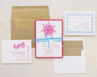 "Modern Indian Wedding Invitations, Gold Glitter Envelope Liner, Modern Fonts, Gold, Hot Pink, White, Aqua - ""Henna Love Gold"" Sample"