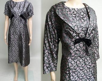 Vintage 1940s Dress//Larger Size//Matching Bolero Jacket//Wiggle Dress//Mod//New Look//Rockabilly//Floral