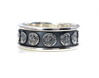 moon phase sterling silver band lunar mens engagement ring - Gear Wedding Ring