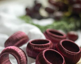 Set of Six Plum Wine Napkin Rings for Dinner Party Decoration, Gift for the Entertainer, Host or Hostess, Tuscan Decor