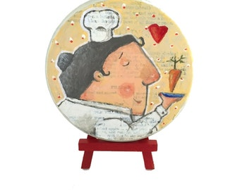 Original Painting, Mixed Media Whimsical Chef Painting