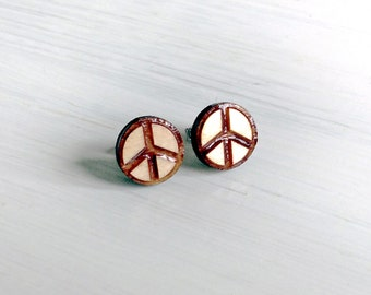 Peace sign wood earring studs. Wood earrings, laser cut peace sign studs, hypoallergenic surgical steel, gift for her, laser cut jewelry