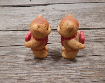 Lucy and Me I Love You and I love you too Bears, Enesco Collectible Bears, 1980s collectible porcelain bears, Kissing bears