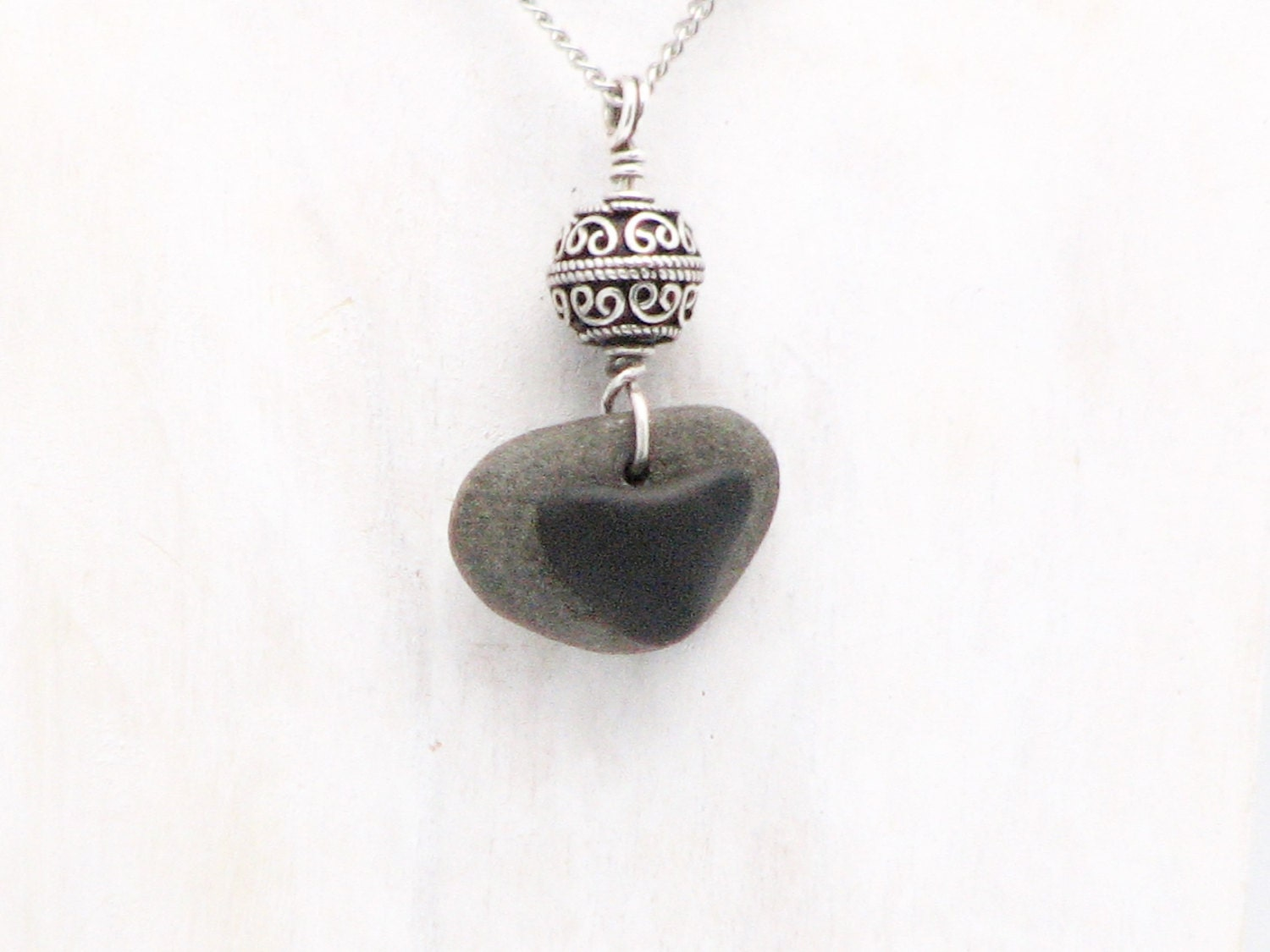 Heart Necklace Beach Stone Jewelry Natural Stone Organic Jewelry ...
