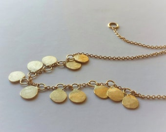 Sequin Necklace in 18k Solid Gold . Gold Disc Necklace . Bridal Fine Jewelry . Gold Dots . Circle Necklace . Minimalist Jewelry . Beaded