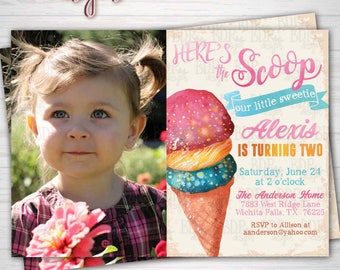 Here's the Scoop Ice Cream Birthday Party w/Photo, Our Little Sweetie Summer Party Any Age Birthday,Digital Download/Prints(Details Below)