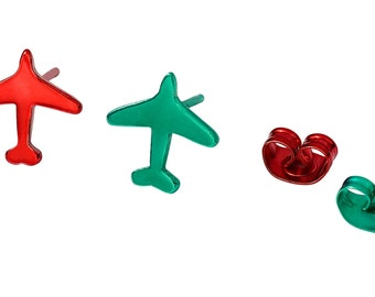 Holiday Red and Green Airplane Jewelry Studd Earrings