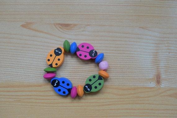 Girl bracelet, children bracelet, kids bracelet,ladybug bracelet,wood bracelet,beaded bracelet,kids jewelry,girl jewelry,wooden bracelet