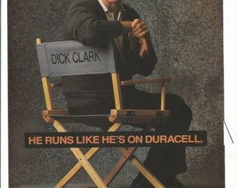 1992 Advertisement Dick Clark Duracell Batteries Celebrity Portrait In Director's Chair 90s Collector Fan Wall Art Decor