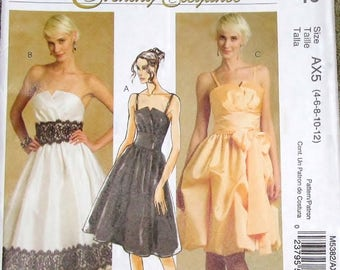 Sewing Pattern McCalls Evening Elegance 5382 Evening Party Dress Sash Womens Misses Size 4 6 8 10 12 Bust 29 30 31 32 34 Uncut Factory Folds