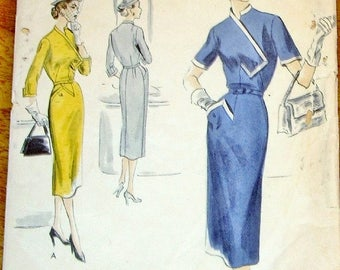 Vintage 1950s Unprinted Sewing Pattern, Vogue Special Design 4207 Sheath Dress, Asymmetrical Bodice, Womens Misses Bust 30 Hip 33 Complete