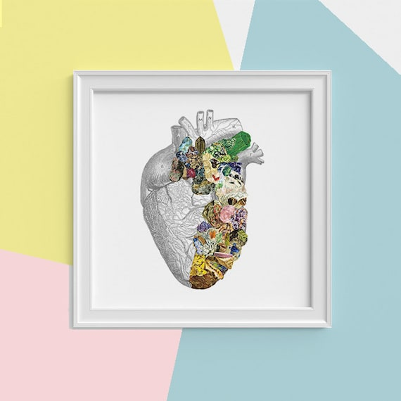 Spring Sale Minerals Human Heart anatomy Print wall art Heart Science student gift Mineral art print,Medicine student gift SQK128