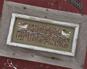 Good Tidings Merry Christmas cross stitch pattern by The Drawn Thread at thecottageneedle.com dove Winter December 25