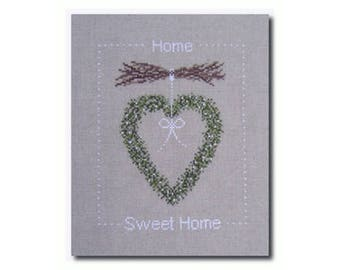 Home Sweet Home Wreath cross stitch patterns by Une Croix, le Temps d'un Thé at thecottageneedle.com holidays embroidery woodland Christmas