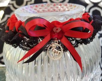 Zodiac Wedding Handfasting Garter, Themed Custom Wedding Garter, Aries, Aquarius Garter