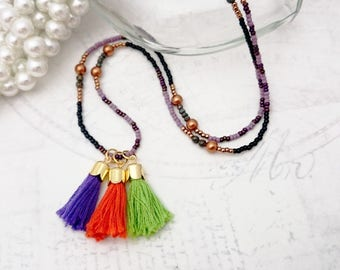 Beaded Tassel Necklace - Toho Beads, Colourful Tassel Necklace