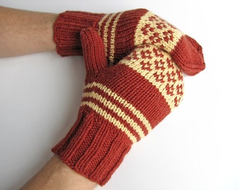 Hand Knitted Fair Isle Mittens - 100% Natural Wool - Cozy Winter Gift