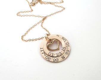 Personalized Coordinates Necklace with Heart - Longitude Latitude Jewelry - GPS - Personalized Gold Jewelry - Engraved - Wedding - Washer