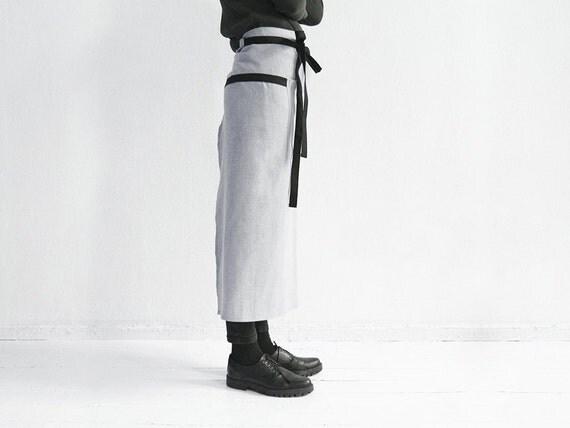 Linen waist apron, Dove grey apron with black loops and ties, Long apron, Unisex apron, Men's apron, Women's apron