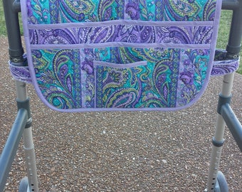 Walker Bag, Walker Organizer, Caddy, Quilted Purple Paisley, Walker Bags, Walker Tote, Purse, Lots of Pockets