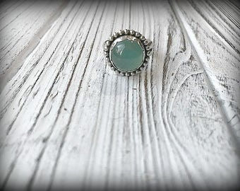 Chrome Chalcedony Sterling Silver Ring - Size 7