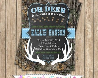 Camo baby shower Invitation Boy deer Hunting  PRINTABLE Invitation 5x7  camouflage light blue realtree chalkboard