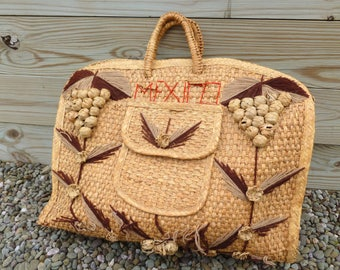 Mexican Woven Straw Beach Tote Bag Carryall in Natural with Grapes and Leaves
