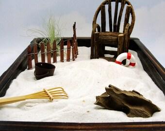 miniature zen beach garden kit, rustic vine chair, air plant, fence, bucket, shells