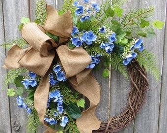 Hydgrangea Wreath, Spring Wreath, Easter Wreath, Mother's Day Wreath,  Spring Blue Hydrangea Bud Wreath, Door Wreath,  Linen Wreath, Simple