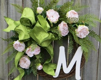 Spring and Summer Wreath - Wreath for All Year Round - Monogram Wreath,  Artificial Flowers Spring Wreath with Letter, Door Wreath