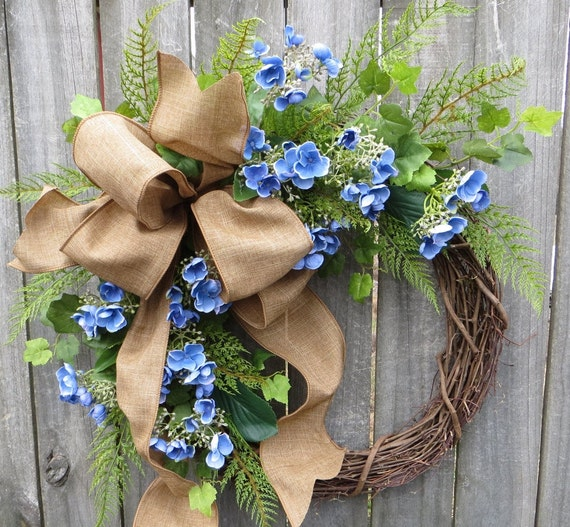 Hydgrangea Wreath, Spring Wreath, Easter Wreath, Mother's Day Wreath,  Spring Blue Hydrangea Bud Wreath, Door Wreath,  Linen Wreath, Simple